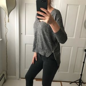 EXPRESS zip black marble sweater EUC Sz xs
